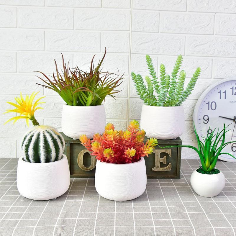 ☃▽ไม้อวบน้ำปลอมกระถางจำลองเนื้อขนาดเล็ก ดอกไม้ปลอมบอนไซตกแต่งภายในบ้านพืชสีเขียวเครื่องประดับต้นกระบองเพชร