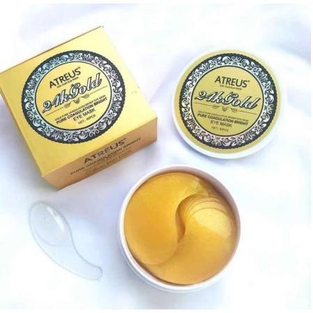 Atreus 24k gold eye mask เอเทรียส แผ่นมาส์ก ใต้ตา ทองคำบริสุทธิ์ มาร์คตา ทองคำ Exp. 14/7/22 ร้านค้าขายส่ง ราคาถูกที่สุด