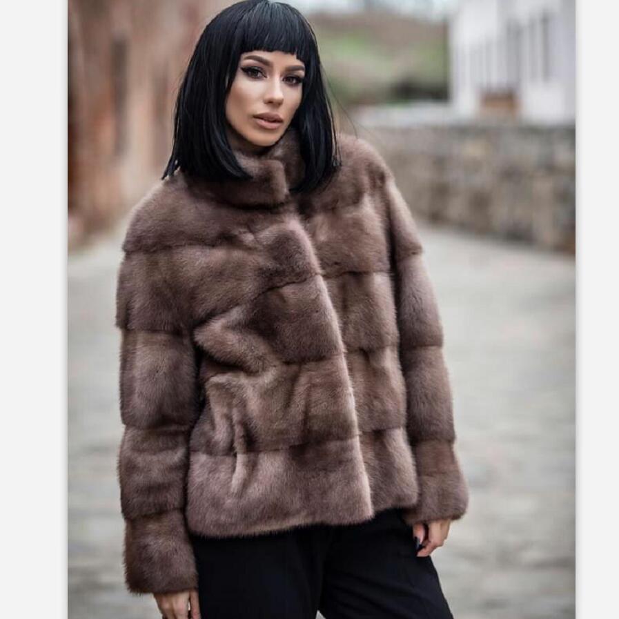 ◎✈100% Natural Mink Fur Coat Winter Luxury Real Mink Fur Coat For Women Genuine Mink Fur Ladies Jackets Oversize 2021 Ne
