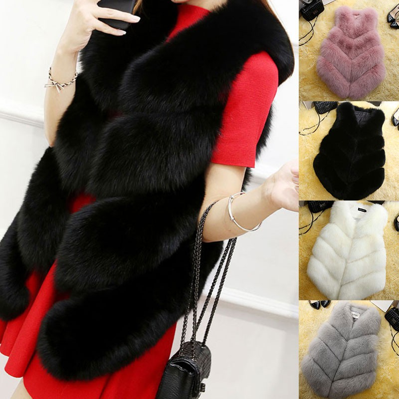 ❇☒2021 New Women Fashion Faux Fur Coat Winter Coat Female Waist Coat Fur Gilet Women's Fur Jacket Fur Vest For Ladies
