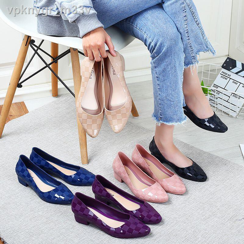 พร้อมส่ง✠☂Sale‼ ️ New Fshion รองเท้าคัชชูหัวรองเท้ารัดส้นรองเท้าส้นเตารีดสีพื้นนิ่มใส่สบาย 8307