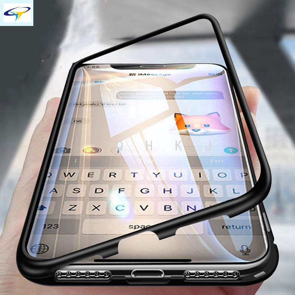 Magnetic Flip Samsung A70 A50 A30 A9 A8 A7 J6 J4 C7 C9Pro Bumper Metal Frame Glass  Phone Case Cover