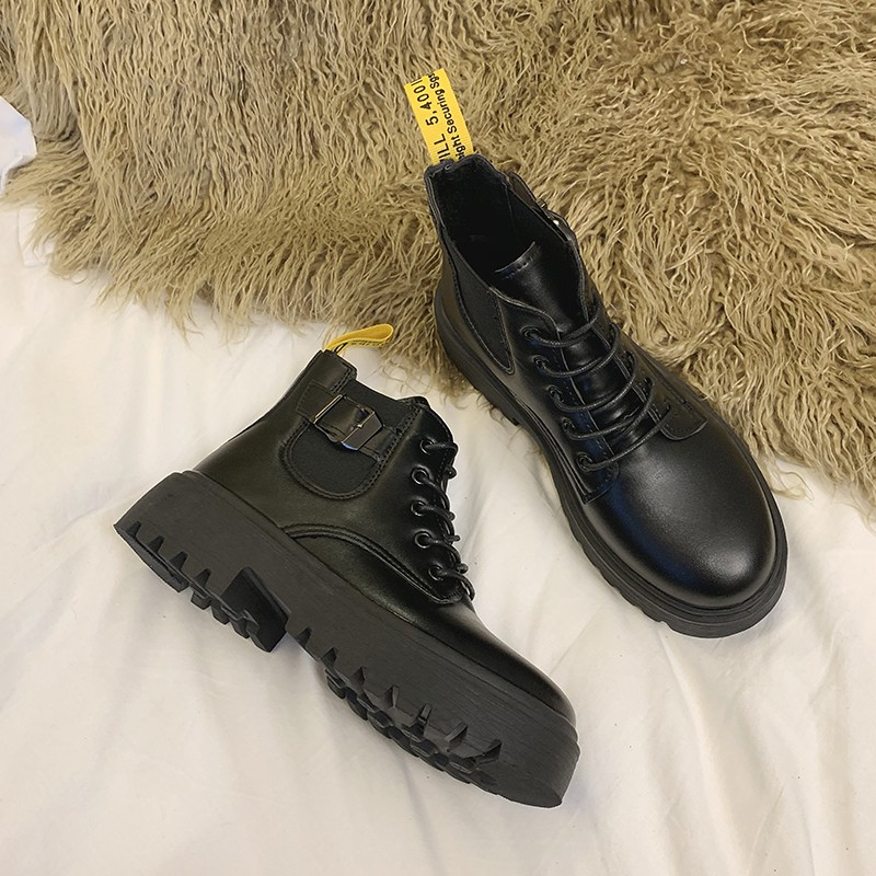 ?พร้อมส่ง?รองเท้าบู๊ชผู้หญิงรองเท้าหนังแฟชั่น รองเท้าบู้ท รองเท้าหนังหุ้มข้อ shoes