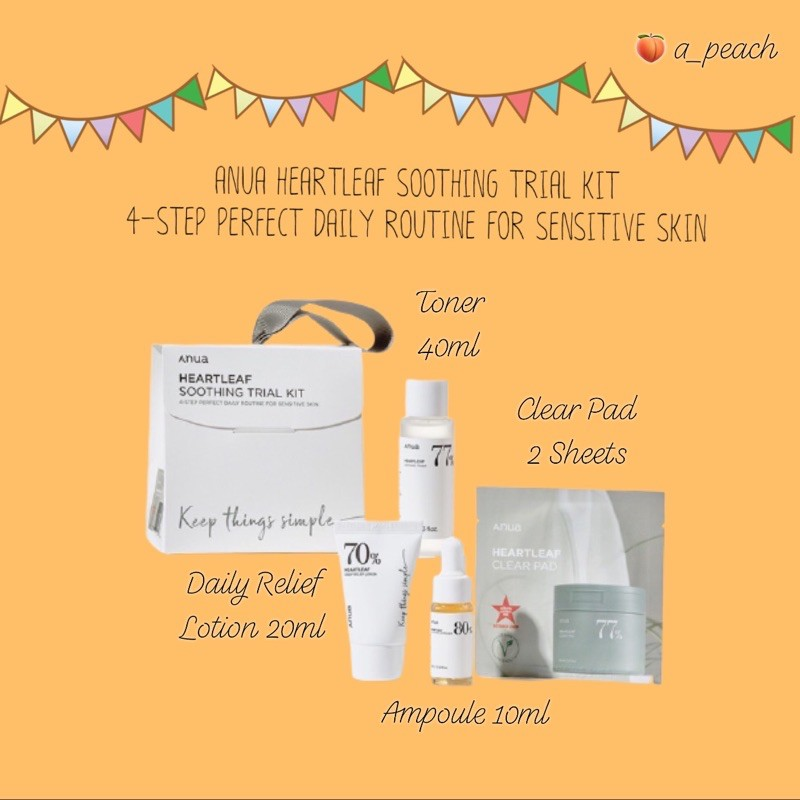 พร้อมส่ง Anua 4 step Trial Kit (Clear Pad, Toner, Lotion, Ampoule)