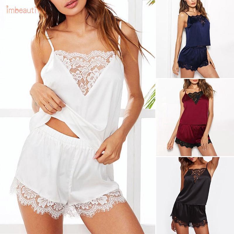 Women Sleepwear Pajamas Set Shorts Tops Nightwear Clothes 2pcs Nightdress Satin