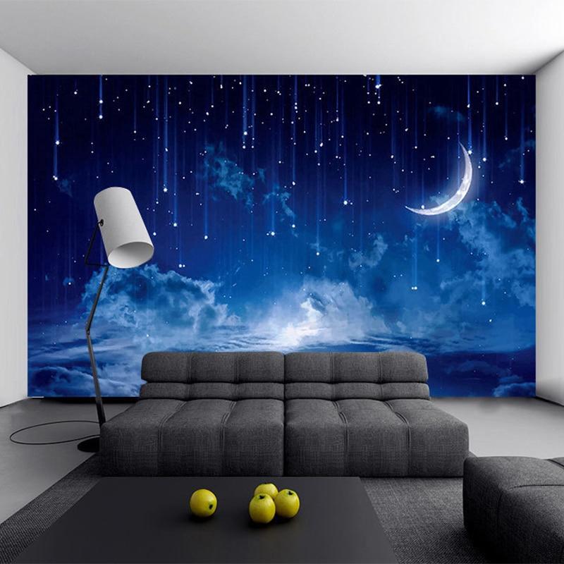 A54g Blue Night Sky Children S Bedroom Backdrop Wall Photo Mural Wallpaper 3d Stereo Landscape Decor Papel De Parede Inf Shopee Thailand
