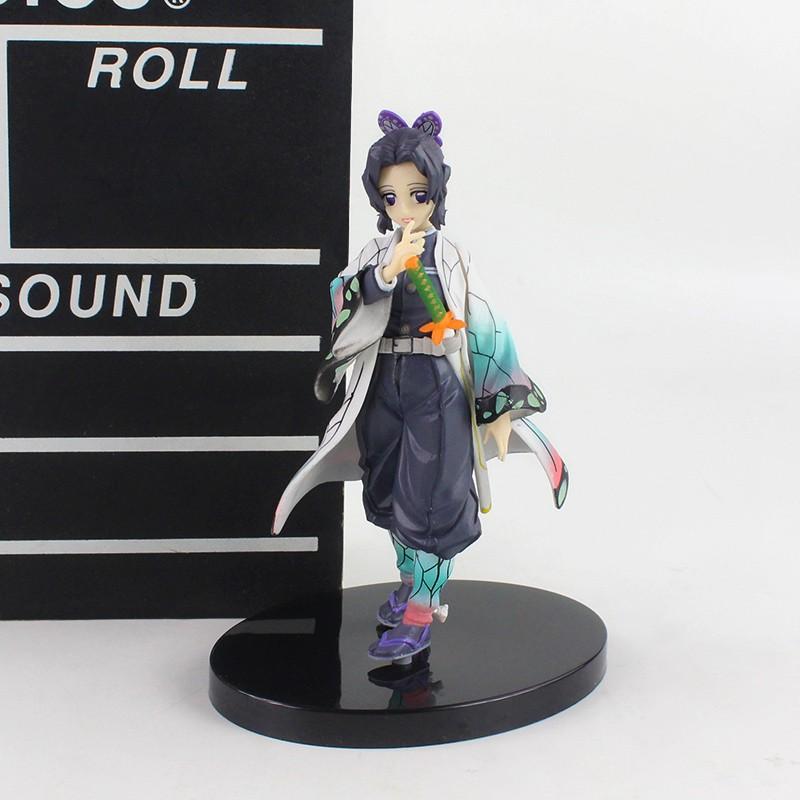 ℡✉♘15cm Demon Slayer Kochou Shinobu Standing Yellow PVC Action Figure Kimetsu No Yaiba Tanjirou Nezuko Model Toys
