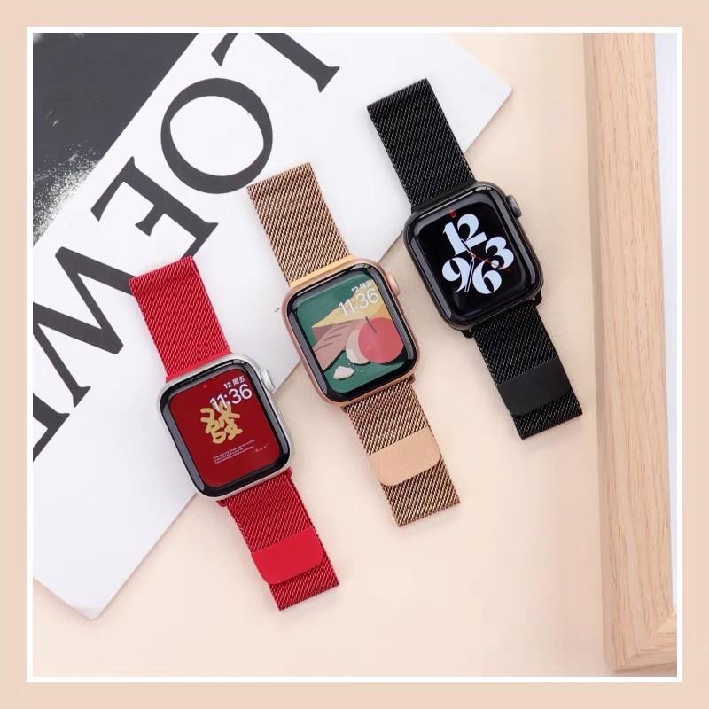 ❂♠◆สาย สำหรับ apple Watch Band Milanese Loop Series 1 2 3 4 5 6 44 มม 40 38 42 applewatch se 4.7