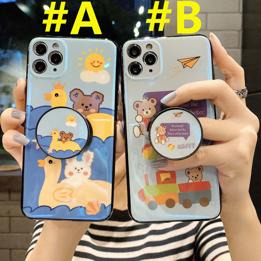 Soft Case + HolderSamsung A8S A8 Star A9 Star A6S A8 Plus A9S A9 Star Pro A9 A6 Cute Bear Blue Ray TPU Phone Cover