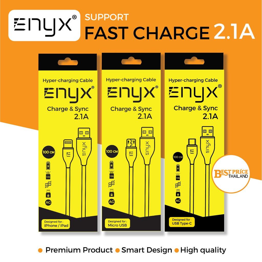 Enyx Hyper-Charging Cable สายชาร์จ 2.1A รองรับชาร์จเร็ว Fast Charge สำหรับมือถือ iPhone Samsung OPP