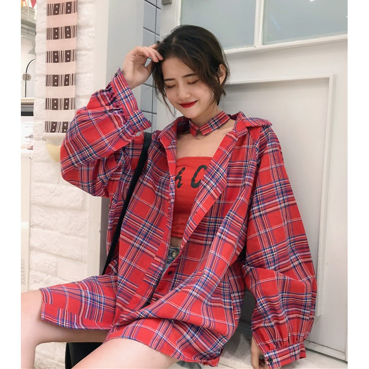 Korea Port Wind Loose Lapel Red Plaid Long-sleeved Sanded Blouses Women Autumn Shirt 399 Women's Clothing