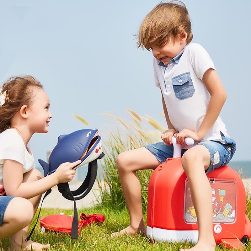 ❤✡เคสรถเข็นเด็ก Familyout กระเป๋าเดินทางเด็กกระเป๋าเดินทางสามารถนั่งและขี่ได้กระเป๋าเดินทางเด็กการ์ตูนนักเรียนลากกระเป๋า