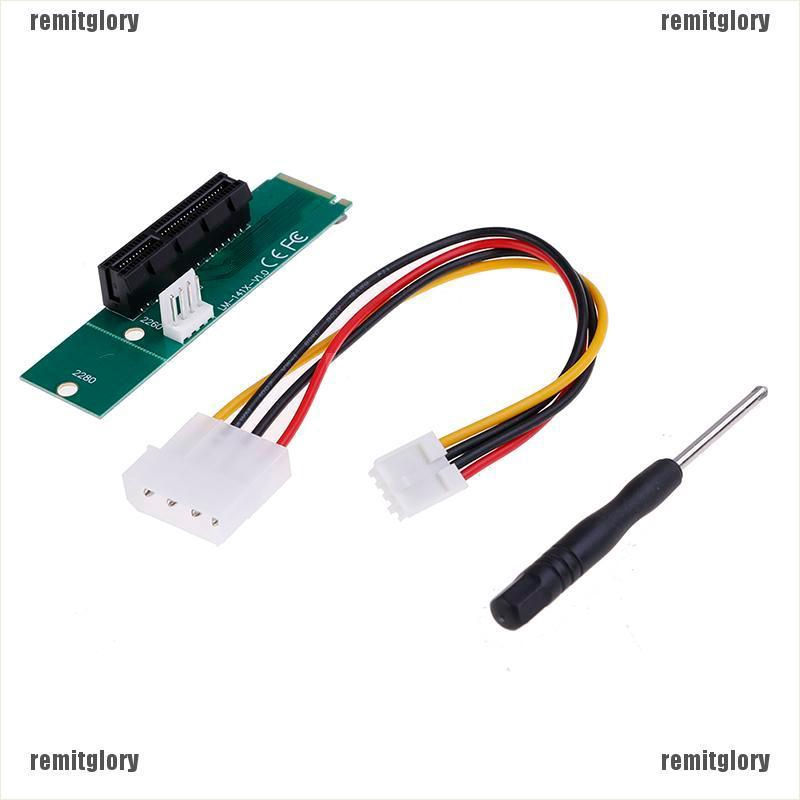 With Converter Card PCI-E 4X Female to NGFF M.2 M Male Adapter Key Power Cable