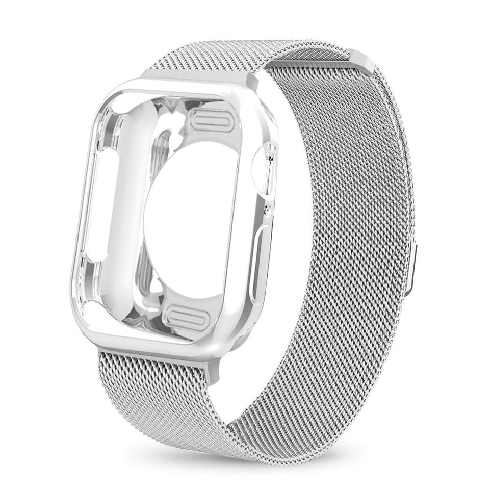 2018Apple Watch strap + Apple Watch Case I Watch Series 6 5 4 3 2, Apple Watch SE size 38mm,40mm,42mm,44mm Same Color Mi