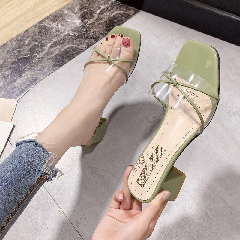รองเท้าส้นสูง หัวแหลม ส้นเข็ม ใส่สบาย New Fshion รองเท้าคัชชูหัวแหลม  รองเท้าแฟชั่นรองเท้าแตะของผู้หญิงสวมใส่ด้านนอกแฟชั