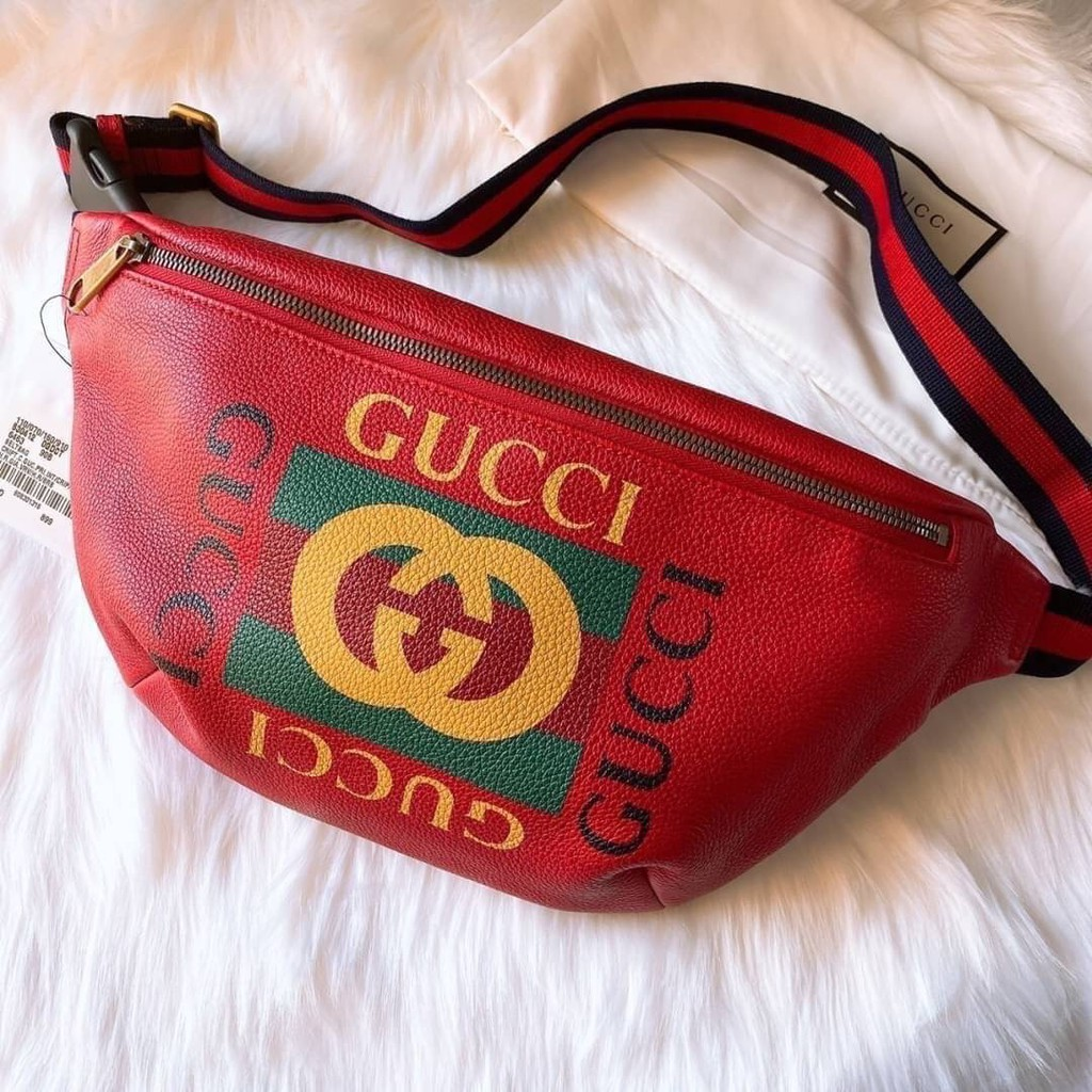 New Gucci Print leather belt bag Size 90 ของแท้ 100%