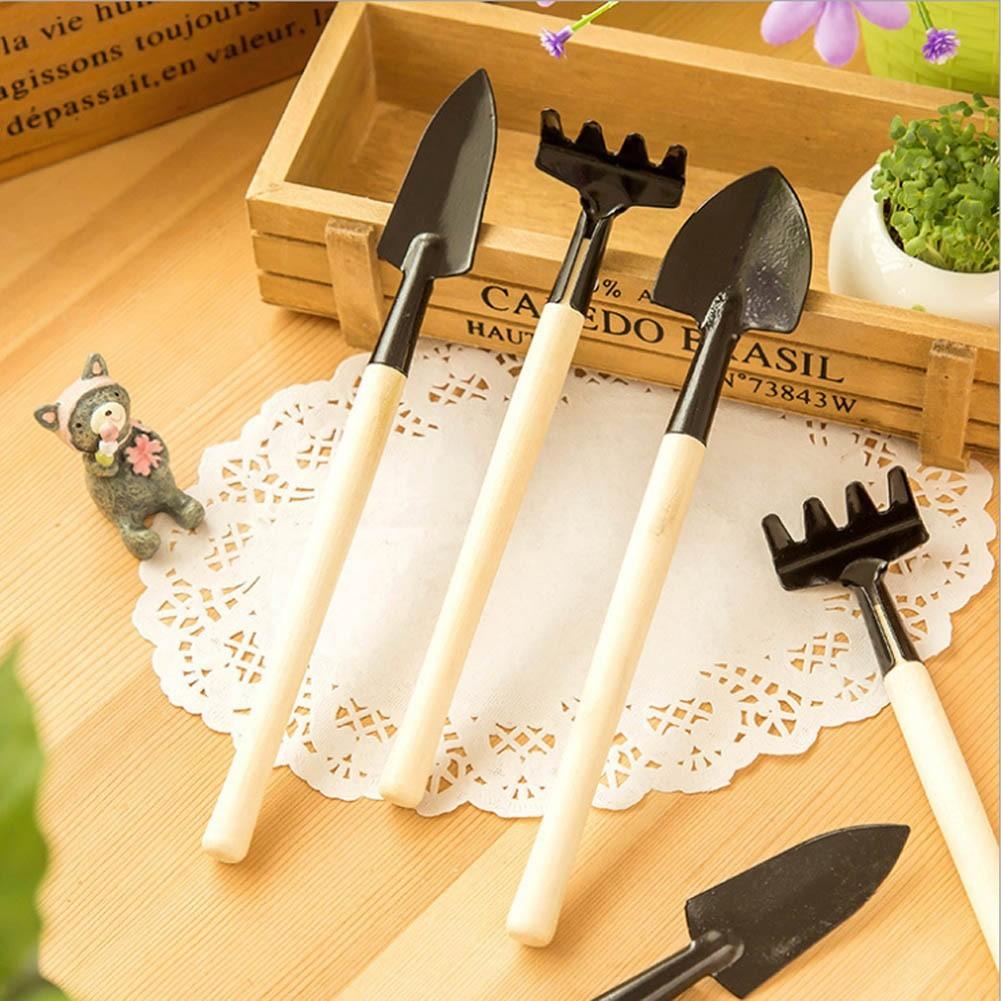 3pcs Mini Garden Home Gardening Plant Tools Wooden Handle Shovel Rake Spade Set