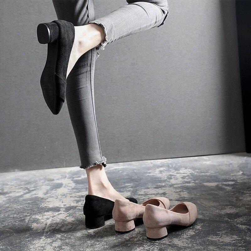 รองเท้าคัชชู หยาบกับรองเท้าส้นสูงหญิง 2019 ใหม่ป่าสาวรองเท้าส้นต่ำรองเท้าตื้นในรองเท้าสีดำรองเท้าทำงานสีดำ