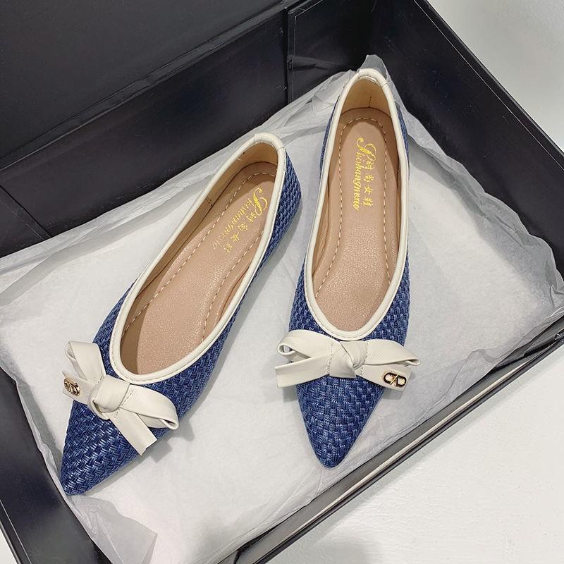 พร้อมส่ง # รองเท้าคัชชูหัวแหลม 2021 แฟชั่นใหม่โบว์พื้นรองเท้านุ่มผู้หญิงก้นแบนผู้หญิงล่อ