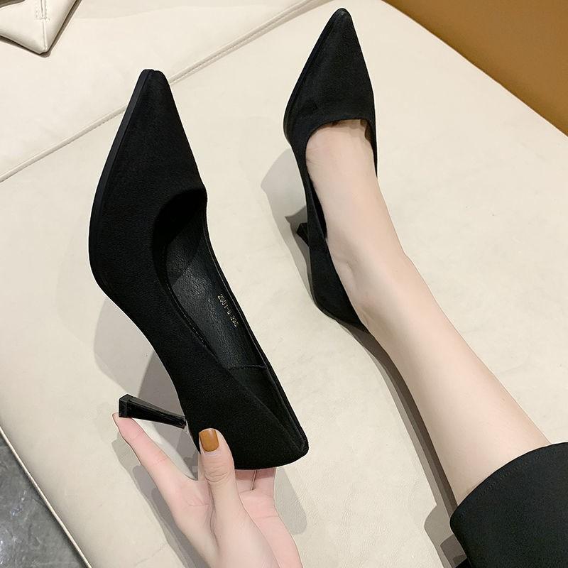 รองเท้าส้นสูง หัวแหลม ส้นเข็ม ใส่สบาย New Fshion รองเท้าคัชชูหัวแหลม  รองเท้าแฟชั่นรองเท้าส้นสูงส้นกริชผู้หญิงใหม่ปากตื้