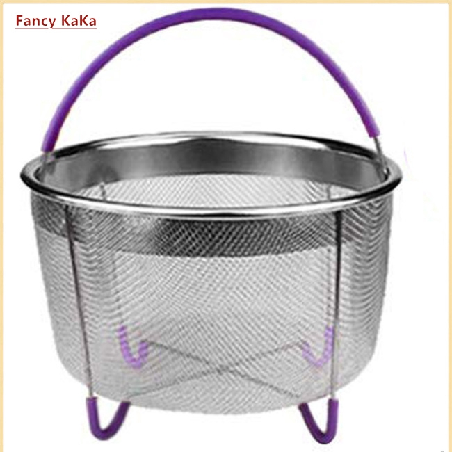 304 Stainless Steel  Mesh Steamer with Silicone Handle Multi-Function Cooker Fruit Cleaning Basket