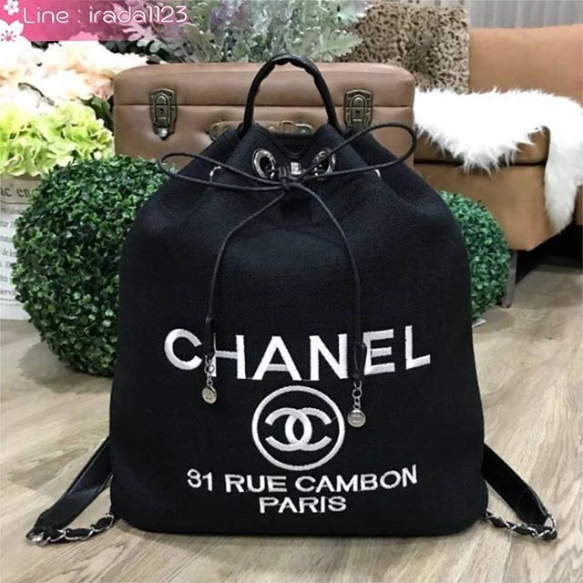 latest design 100% authentic great prices Chanel Beaute Black Canvas Drawstring Backpack Limited Edition ของแท้  ราคาถูก