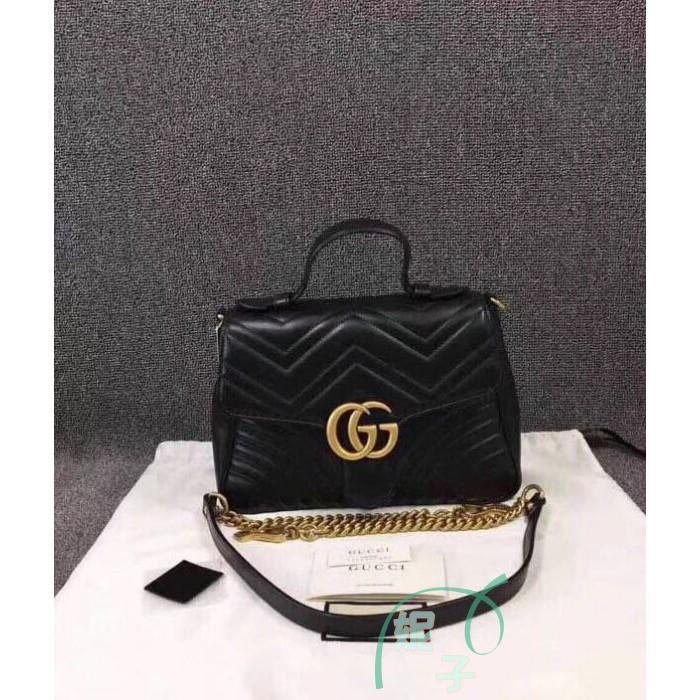 [WS]ของแท้ Gucci 498110 Small GG Marmont กระเป๋าสะพายแบบพกพาสีดำ