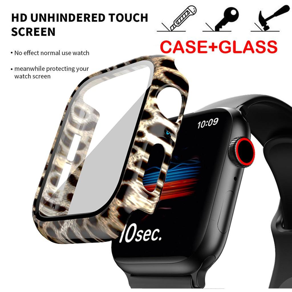 เคส Applewatch ขนาด 38 มม. 40 มม. 42 มม. 44 มม glass+pc สำหรับ Leopard Apple Watch Series 6/5/4/3/2/1/ Apple Watch SE, Apple Watch Case