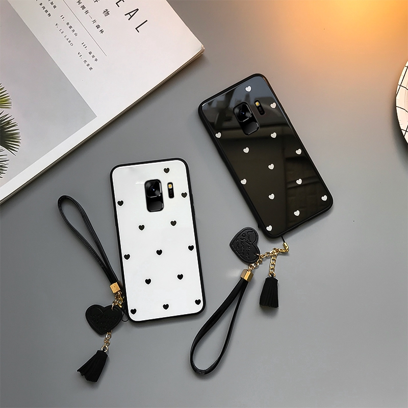 Samsung Galaxy A9 A8 A7 A6 A5 Plus 2018 A750 A9s A9 Star Pro Love Heart Glass Wristband Hard Case RPmR