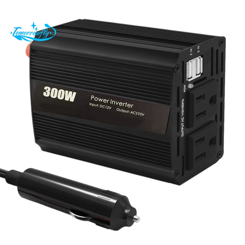 300W Dual DC 12V to 110V AC Outlets Power Inverter Dual USB Ports Car Adapter US