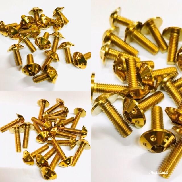 น็อต/สกรู คอนโซลดอกไม้ ทอง ขนาด 5M (เบอร์8)ราคาตัวล่ะ
