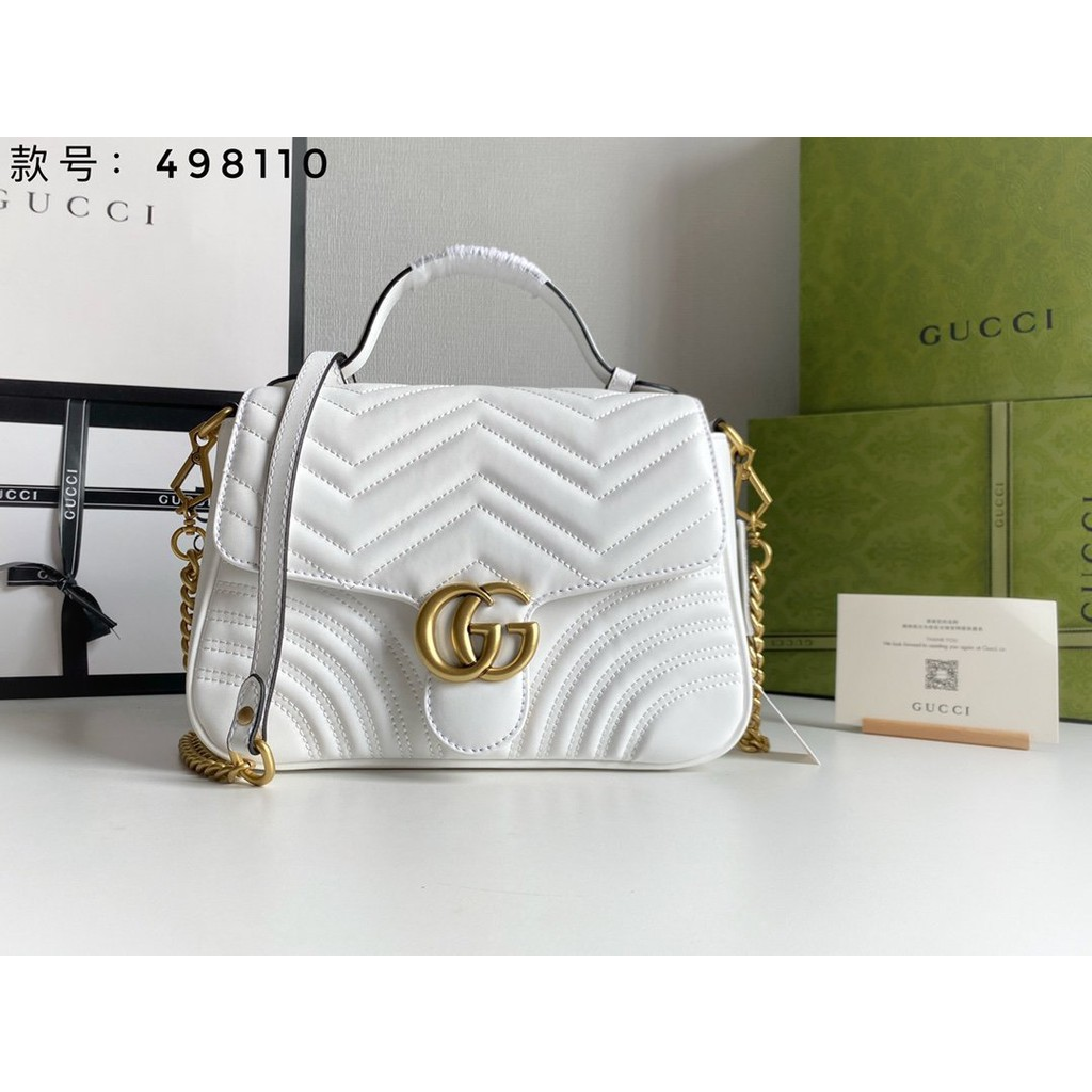 Gucci Marmont Series ~ Style No. 498110 White Real Handbags Fashion Gifts All-Match Large-capacity Z