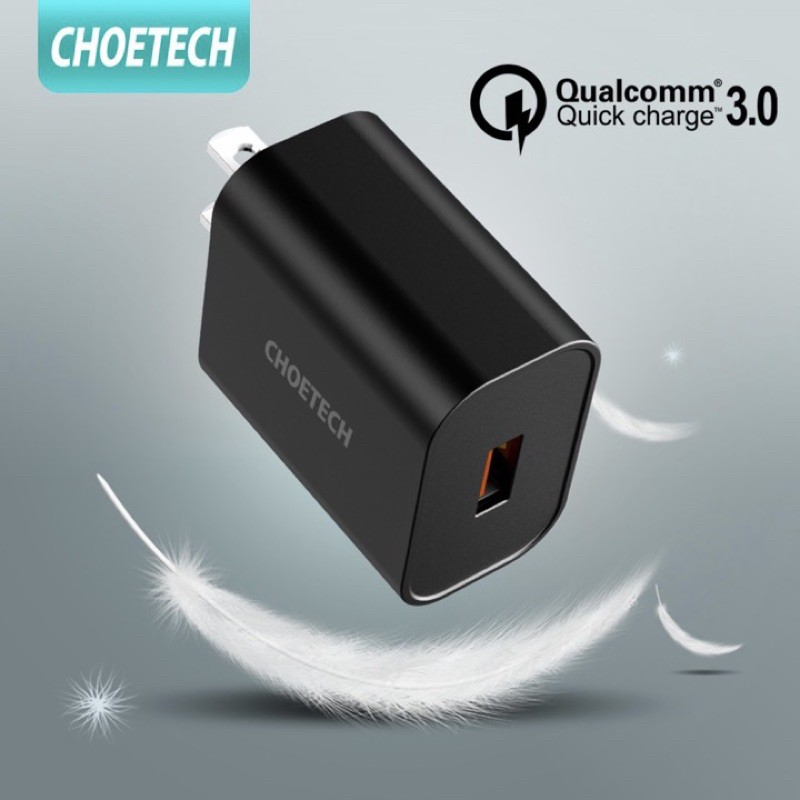 [CHOETECH] หัวชาร์จเร็ว QC3.0 อะแดปเตอร์ชาร์จแบตมือถือ USB 18W ใช้ได้โทรศัพท์ for Samsung iPhone สายเดิมได้