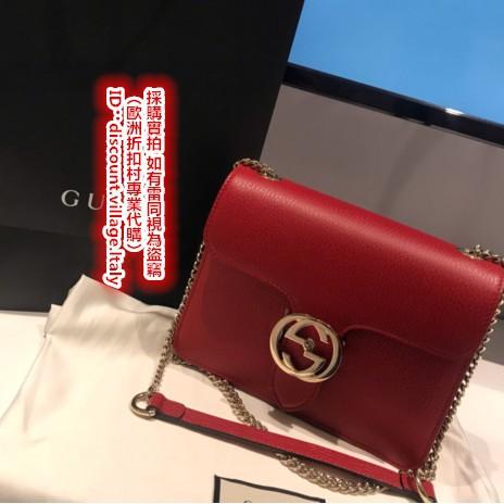 (จัดซื้อมืออาชีพจากหมู่บ้านลดราคาในยุโรป) GUCCI 510304 หนังวัวสีแดงแสงสีทองสองชั้น G ไหล่ชั้นพลิกหัวเข็มขัดโซ่กระเป๋าสะพ