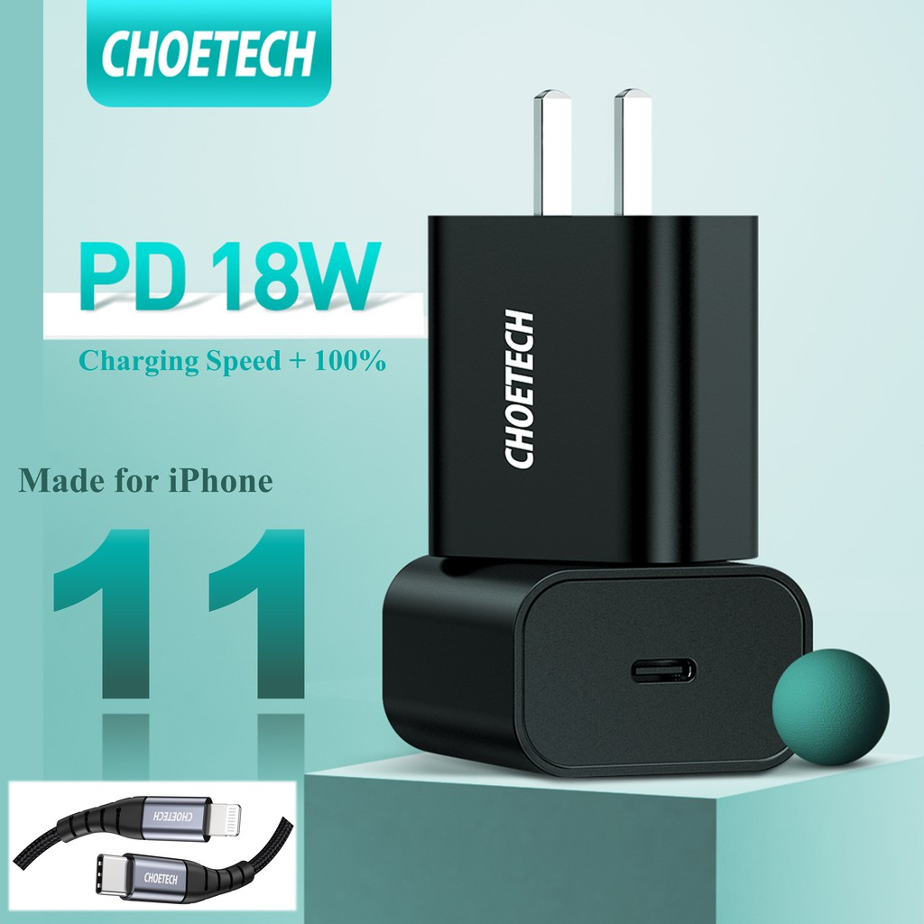 🔥🔥🔥[Ready] CHOETECH USB C Charger 18W Power Delivery Type C Wall Charger iPhone 11/11 Pro XS Max/XR 8 iPad Pro 60cX