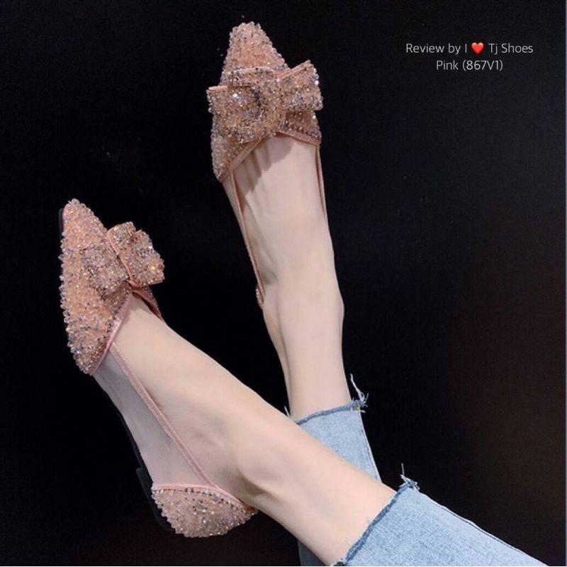 รองเท้าคัชชูออกงาน (ดำ/ชมพู) ❤️