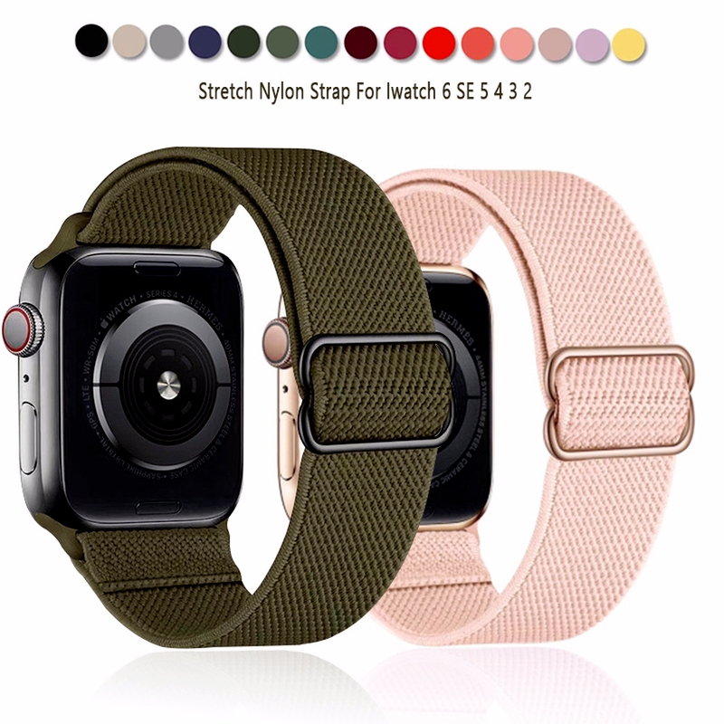 Scrunchie Nylon Strap for Apple Watch Band 44mm 40mm 38mm 42mm Adjustable Elastic Nylon Solo Loop IWatch Series SE 6 5 4 3 2 1 Bracelet