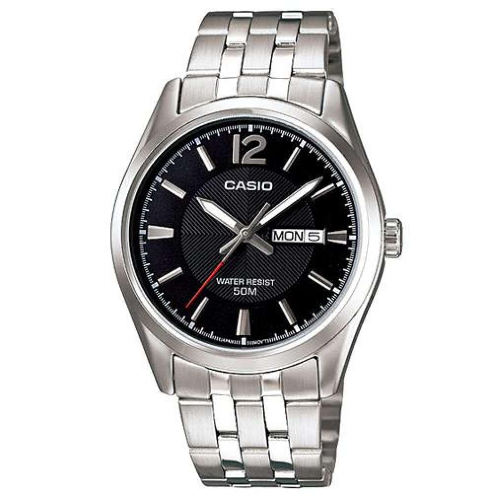 Casio Standard นาฬิกาข้อมือผู้ชาย สีดำ/เงิน สายสแตนเลส รุ่น MTP-1335D-1AVDF
