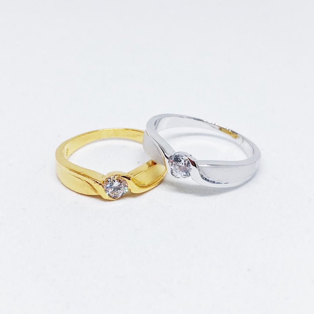 แหวนเพชร cz ชุบทองไมครอน และซาติน ทองคำขาว ราคาพิเศษ