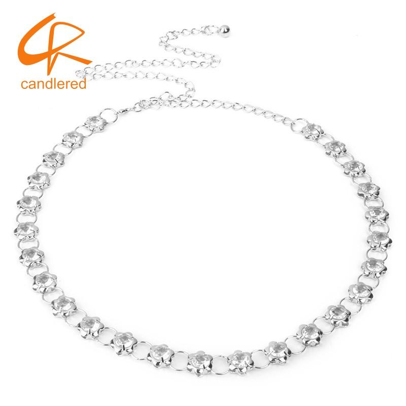 Women Silver Metal Crystal Diamante Dress Belt Waistband Belly Waist Chain