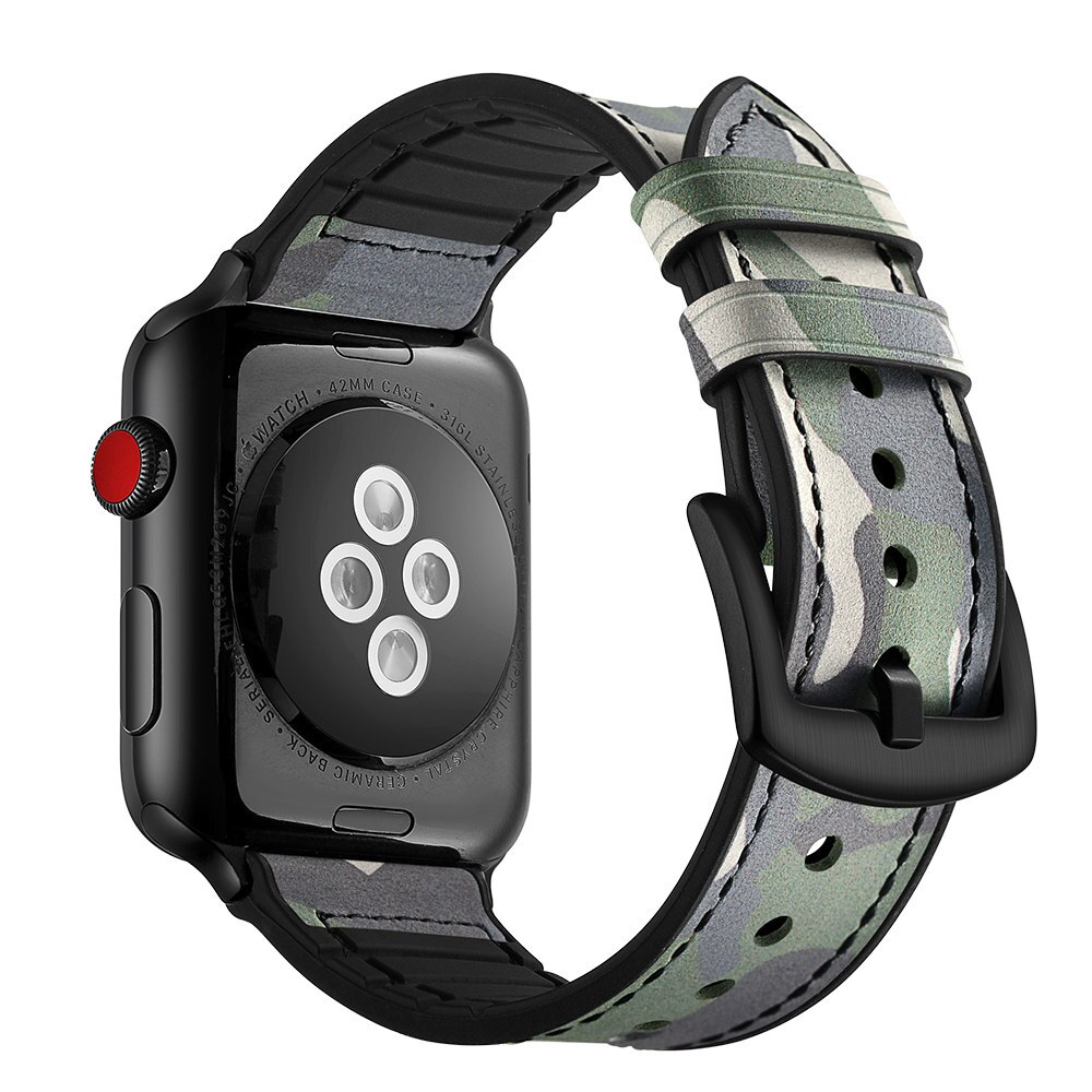 Silicone+Leather Strap For Apple Watch Band 44mm 40mm iWatch Band 38mm 42mm Camouflage Bracelet Apple Watch Series 3 4 5 SE  6