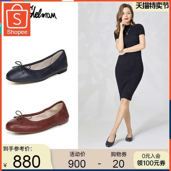 รองเท้าคัชชู ใส่สบาย สำหรับผู้หญิง รุ่นสีเรียบใส่ทำงาน SAM Edelman ฤดูใบไม้ผลิและฤดูร้อนปากตื้นรองเท้าบัลเล่ต์ด้านล่างนุ