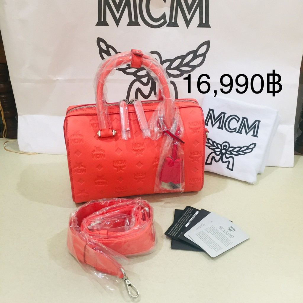 Mcm Essential #Boston Bag in Monogram Leather