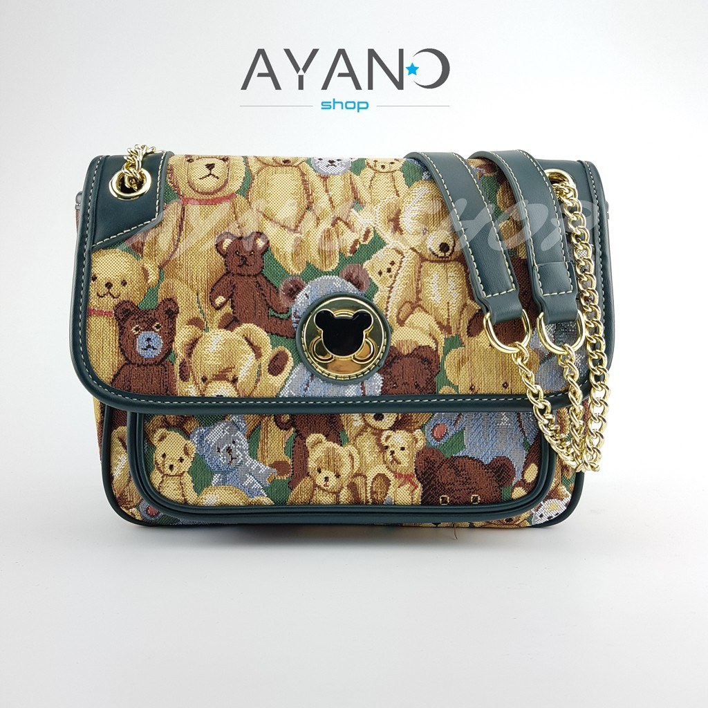 กระเป๋าสะพาย Daivd Duke (TTWN BEAR) ทรง Chanel Classic (สีเขียวใหม่)  แถม ปอมหมี1ตัว