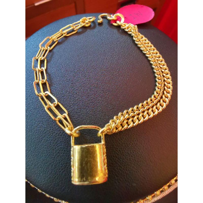 สร้อยมือทองแท้ 96.5%  น้ำหนัก 2 สลึง ยาว 15.5cm ราคา 15,700บาท