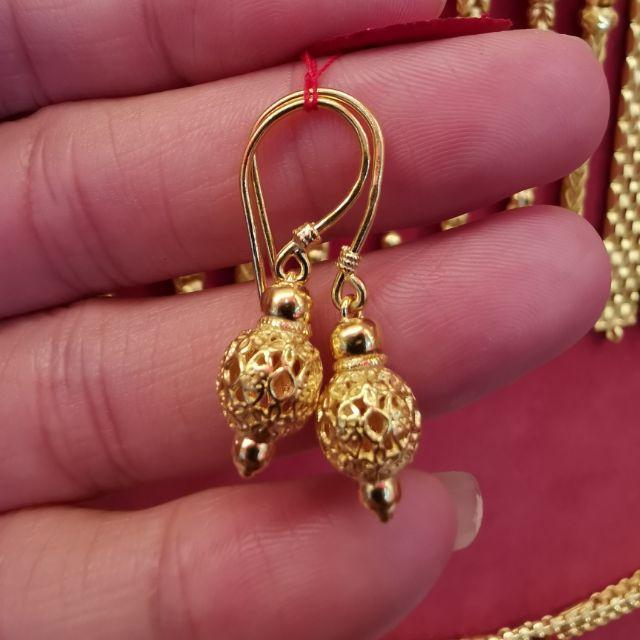 ต่างหูทองแท้96.5%  ลายฉลุ หนัก 1 สลึง ราคา 8,350บาท