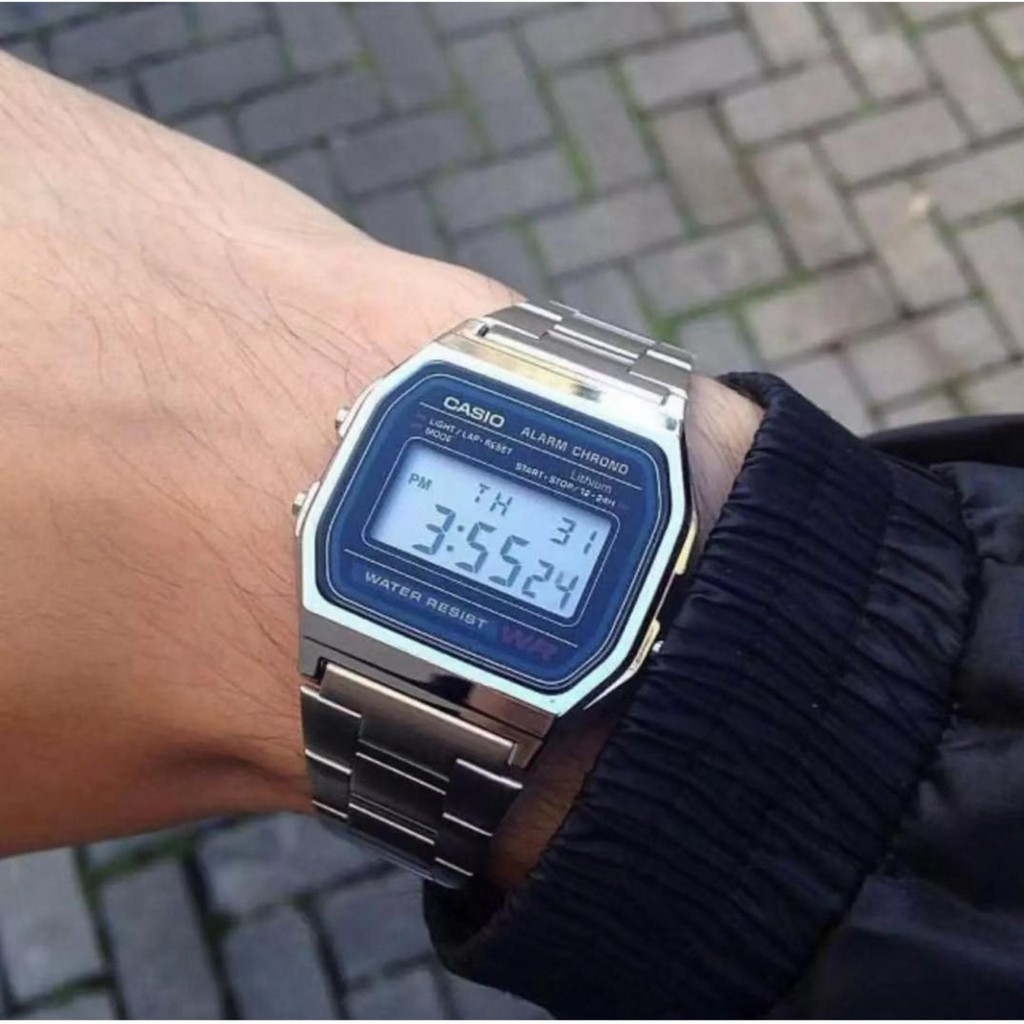Casio Digital Classic นาฬิกาข้อมือสุภาพบุรุษ สีเงิน สายสแตนเลส รุ่น A158WA-1DF