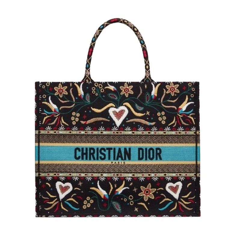 Dior Book Tote Embroidered Canvas bag Black/Floral