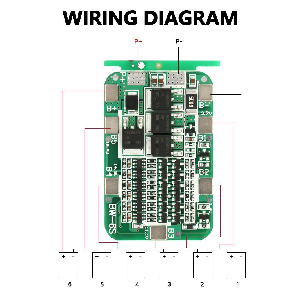 1x PCB BMS 6S 15A 22V 24V Protection Board For 18650 Li-ion Lithium Battery  Cell