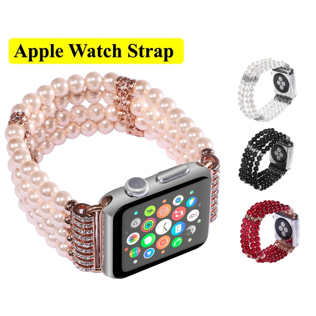 Apple Watch Strap Luxury Handmade Pearl Applewatch Series 6 5 4 3 Stainless Steel Straps for apple watch iWach Series6 ,Series5,Series4 ,Series3, Apple Watch SE Watch band iwatch size 38mm 40mm 42mm 44mm